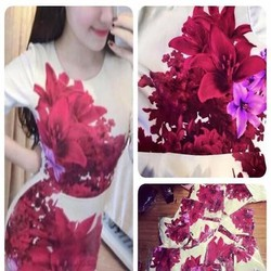 Đầm body họa tiết hoa đỏ nổi bật trẻ trung DOV733