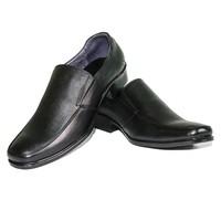 Giày tây nam không dây DA BÒ THẬT - Đen