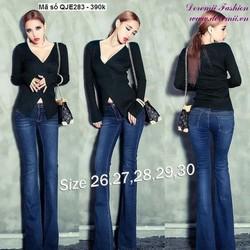 Quần jean nữ lưng cao 1 nút ống loe form chuẩn đẹp zQJE283