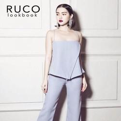 Sét áo kiểu cúp 2 dây sành điệu và quần ống suông thời trang SQV102