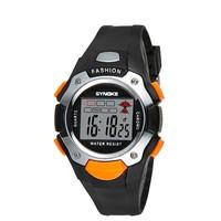 Đồng hồ thể thao synoke trẻ em 99319 màu đen viền cam