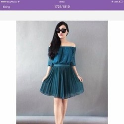 Sét áo kiểu bẹt vai và chân váy xòe 2 lớp sành điệu SEV369