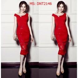 DNT2146 Đầm ôm Body cổ V phối ren Ruco