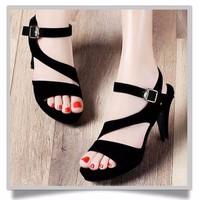 GIÀY CHẤT NGOẠI NHẬP - Giày cao gót nhung đen