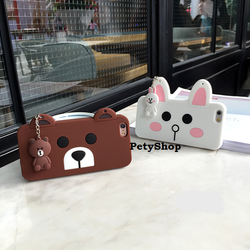 Ốp gấu Brown Thỏ Cony ngang iPhone 5 5S 6 6S 6 6S Plus