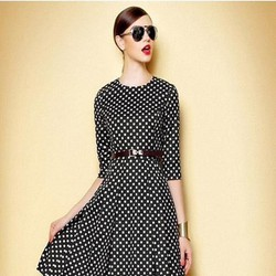 Đầm công sở dài tay xòe xinh đẹp chấm bi sành điệu DXV208