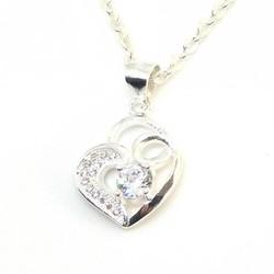 dây và mặt dây chuyền bạc ý hình trái tim dmd020