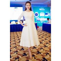 Đầm trắng xòe thanh lịch thiết kế trẻ trung D1031