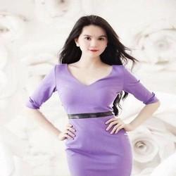 Đầm ôm dài tay cổ tim màu tím xinh đẹp và sang trọng DOV755