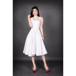 Đầm trắng xòe dự tiệc cưới thiết kế đơn giản D1030