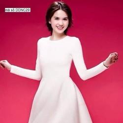 Đầm xòe dự tiệc dài tay thiết kế đơn giản trắng trẻ trung DXV226
