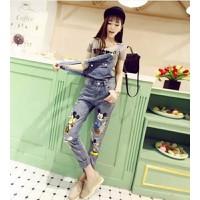 quần jeans yếm mickey túi rách Mã: QD740