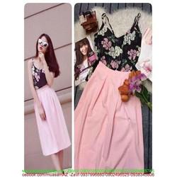 Sét áo 2 dây hoa xinh và chân váy xòe dễ thương SEV368