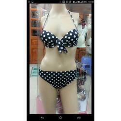 Set bơi bikini chấm bi đen