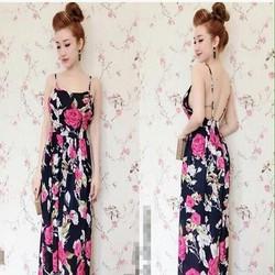 Đầm maxi 2 dây hở lưng sexy họa tiết hoa hồng xinh đẹp nổi bật DDH220