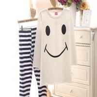 Đồ bộ sau sinh áo dài tay hình mặt cười dễ thương DBS55