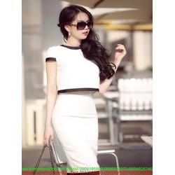 Sét áo kiểu tay con viền đen cá tính và chân váy xinh đẹp SEV373