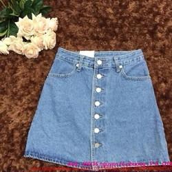Chân váy jean xòe nhẹ 7 nút sành điệu có 2 màu CVJ3