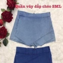 Chân váy jean hàng thái kiểu đắp chéo thời trang sành điệu CVJ9