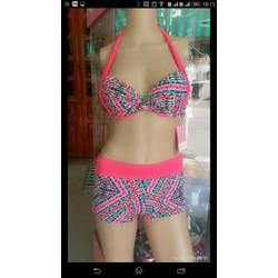 Set bơi caro hồng quần short