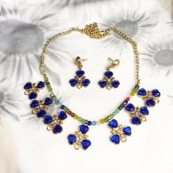 Bộ dây chuyền và bông tai dự tiệc gắn đá xanh sang trọng