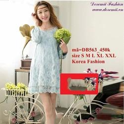 Đầm bầu Hàn Quốc tay dài ren hoa nổi cao cấp zzDB563
