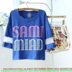 Đồ bộ ngủ in chữ SAMI MIAD và quần short hoa xinh đẹp NN267