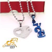 Dây chuyền cặp đôi inox trái tim treo chữ love màu xanh bền đẹp rẻ