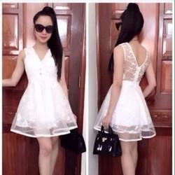 Đầm xòe dự tiệc trắng phối lưới trẻ trung xinh đẹp DXV246
