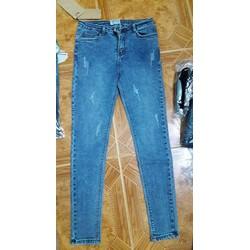 Quần jean nữ dài, lưng cao, wash nhẹ