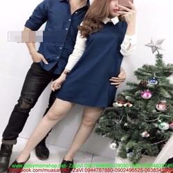 Sét áo đôi sơ mi nam và váy nữ phối tay màu trẻ trung cá tính ATD106
