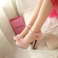 Giày cao gót hở mũi đính nơ xinh xắn - LN112