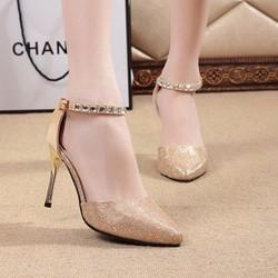 Giày cao gót nữ ánh kim quai đính đá - LN114