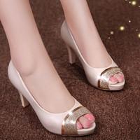 Giày cao gót hở mũi viền vàng - LN113