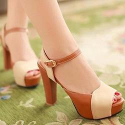 HÀNG CAO CẤP CHẤT NGOẠI NHẬP - Giày cao gót phối màu da bò 10cm