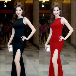 Đầm maxi xẻ tà có size M,L