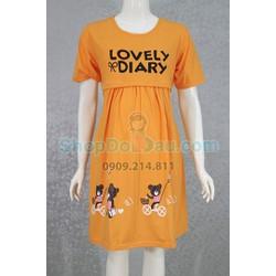 Đầm bầu mặc nhà  2 in 1 - bầu và cho bé bú - Thun cotton dày - mịn