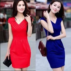 Đầm ôm công sở cổ tim quý phái- xanh nước biển, đỏ.