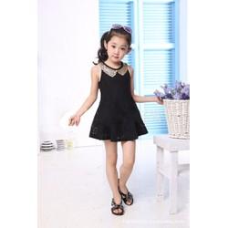 Đầm ren bé gái màu thuần, thiết kế cổ bẻ phối kim sa nổi bật, đáng yêu