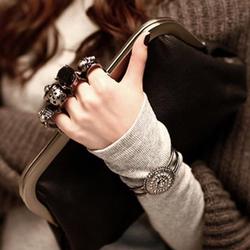 Túi xách tay da nữ thời trang cá  tính tay cầm  đầu lâu Hàn Quốc