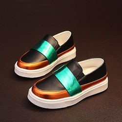 Giày lười nữ thời trang, thiết kế ghép nối màu sắc, sành điệu