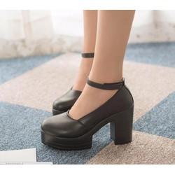 Giày búp bê chunky 10 phân dây cổ chân
