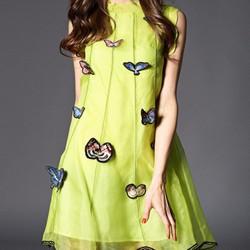 Đầm voan hoạ tiết bướm