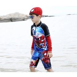 Set áo tay dài, quần bơi, nón bơi người nhện spider man anh hùng