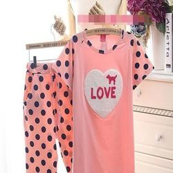 Đồ bộ mặc nhà hình tráim tim phối quần chấm bi dễ thương NN430