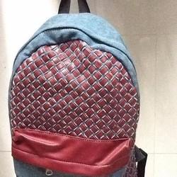 Balo đi học vải bố phối màu ô caro sành điệu BLDh178