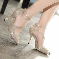 Giày cao gót kim tuyến quai soắn - LN128