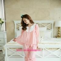 Đồ bộ mặc nhà pyjama dài tay phối ren hoa trắng trẻ trung NN443newê