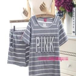 Đồ bộ mặc nhà pink sọc ngang màu dễ thương NN433