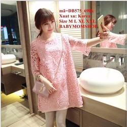 Đầm bầu Hàn Quốc tay lỡ ren hoa nổi cao cấp sang trọng zzDB575